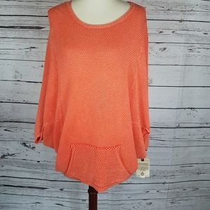 Democracy Orange poncho sweater